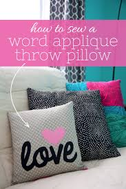 to sew a word applique throw pillow