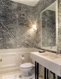 vintage map wallpaper modern bathroom gauthier stacy