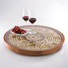 Glass Lazy Susan Turntable by Wine Cork Lazy Susan Kit Wine Enthusiast