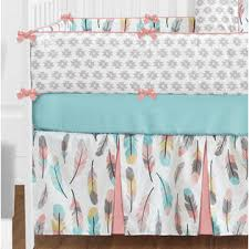 sweet jojo designs 9pc crib bedding set for the feather collection by