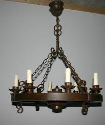 Antique Iron Chandeliers A Wood Wrought Iron Round 8 Light Chandelier From