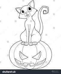 cat sitting on halloween pumpkin coloring stock vector 151628111