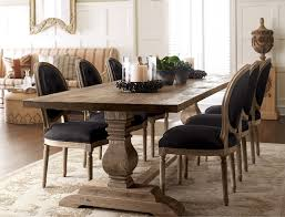 table dining room natural dining table black linen chairs traditional dining