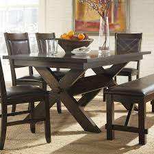 homelegance roy 6 piece trestle dining room set in dark espresso