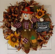 scarecrow boy sunflower thanksgiving fall autumn deco mesh door