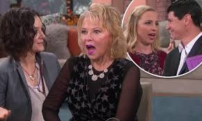 new look for roseanne barr 2015 with blonde hair roseanne barr is surprised by sara gilbert lecy goranson and