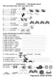 esl worksheets for beginners demonstrative adjectives