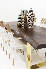 walnut finished parota eco slab dining table w brass u legs