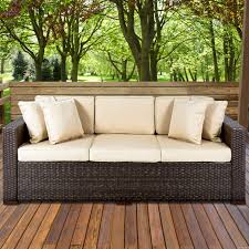 4 Piece Wicker Patio Furniture - outdoor wicker patio furniture sofa 3 seater luxury comfort brown