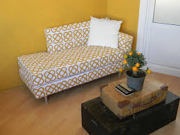 Contemporary Living Room Decoration with White Yellow Ikea Futon