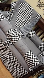 fox motocross bedding grey checkered flag crib set you design by gracemadisondesigns