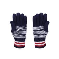Blue Flag White X Knit Usa Flag Winter Gloves For Women
