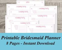 of honor planner instant bridesmaid wedding party planner pdf wedding