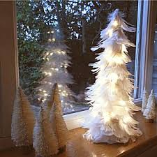 white feather tree lights table decorations