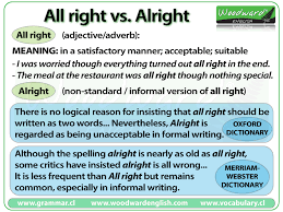 Suitable Meaning by All Right Vs Alright Woodward English