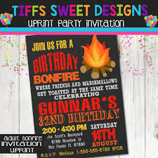 guys birthday party invitation bonfire fire pit