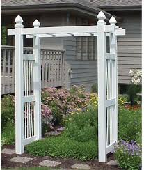 arbor courtyard trellis outdoor garden decor flat top white vinyl