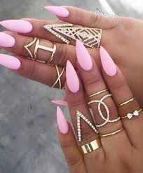nice pink matte stiletto nails paulette harris gold nail art