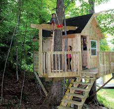 a backyard tree house with zip line and hammock habitat kids