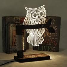 eshion home 3d owl shape led desk table light lamp night light us