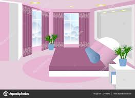 Curtain Cartoon bedroom the interior of the room vector bed bedside table