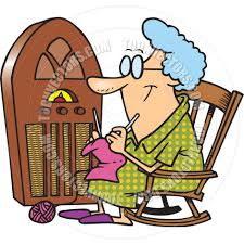 Grandma In Rocking Chair Clipart Cartoon Antique Radio By Ron Leishman Toon Vectors Eps 9691