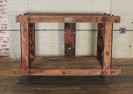 iron kitchen island rolling kitchen island table or cart rustic vintage wood metal