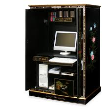 Black Computer Desk With Hutch by Armoire Mesmerizing Black Computer Armoire For Home Computer