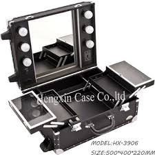 rolling makeup case with lighted mirror black faux leather professional rolling makeup studio case with