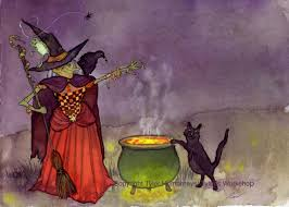 witch u0026 black cat halloween card witches pinterest witches