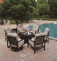 Patio Furniture With Gas Fire Pit by Sherwood By Hanamint Luxury Cast Aluminum Hexagonal Enclosed Gas