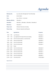 examples of agendas for meetings format microsoft word proposal