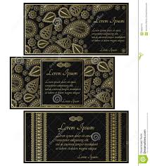 Black Invitation Card Set Of Black Invitation Cards With Golden Paisley Stock Vector