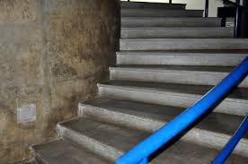 free picture concrete stairs street blue handrail