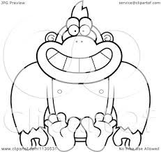 cartoon clipart of a black and white sitting gorilla monkey