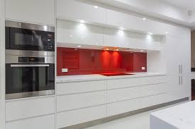 Glossy White Kitchen Cabinets Interesting White Kitchen Red Splashback Latest Hia Award S Inside