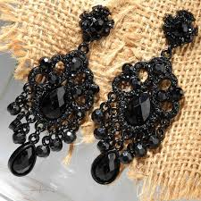 black earings jewelry trend shining black onyx prom and black