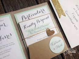 wedding invitation pocket mint and glitter gold pocket folder wedding invitation set misiu
