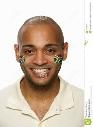 Image Of South African Flag Young Male Sports Fan With South African Flag Pain Stock Photo