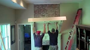 brick floor to ceiling fireplace makeover youtube