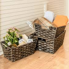 woven baskets maidmax rectangular rattan storage baskets with