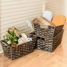 woven baskets maidmax rectangular rattan storage baskets with
