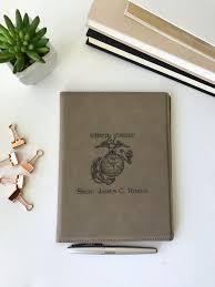 personalized leather portfolio marine corps military gift