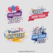 new year sticker set of colourful new year stickers vector free