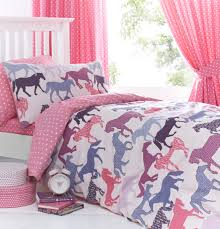 gallop pink girls horse bedding duvet cover set sheet or