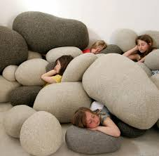 oversized home decor playtime is funtime zen rock nature inspired and poufs