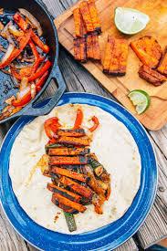 grilled sweet potato fajitas fresh off the grid