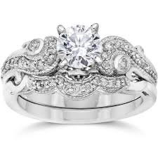 engagement and wedding ring set bliss 14k white gold 3 4ct tdw vintage diamond engagement wedding