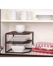 Kitchen Cabinet Plate Organizers Deals On Shelf Organizer Rack 2 Tier Bronze Storage Kitchen Corner