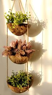 amazon com exotic elegance 3 tier coconut shell hanging planter
